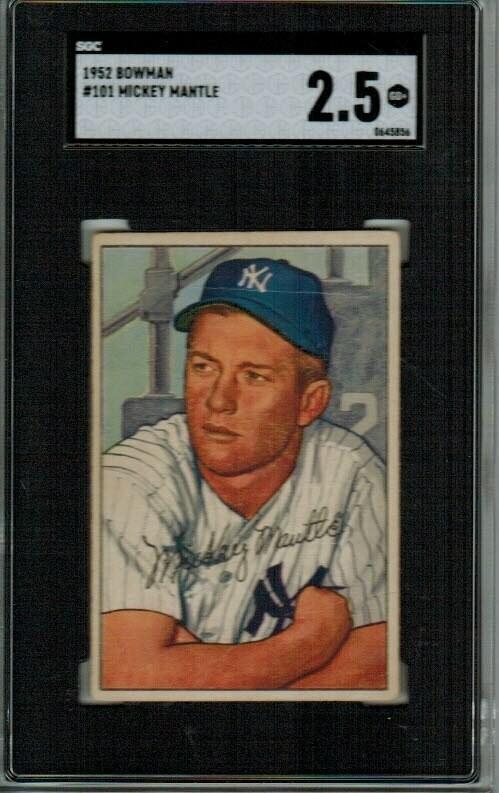 1952 Bowman #101 Mickey Mantle SGC Graded 2.5