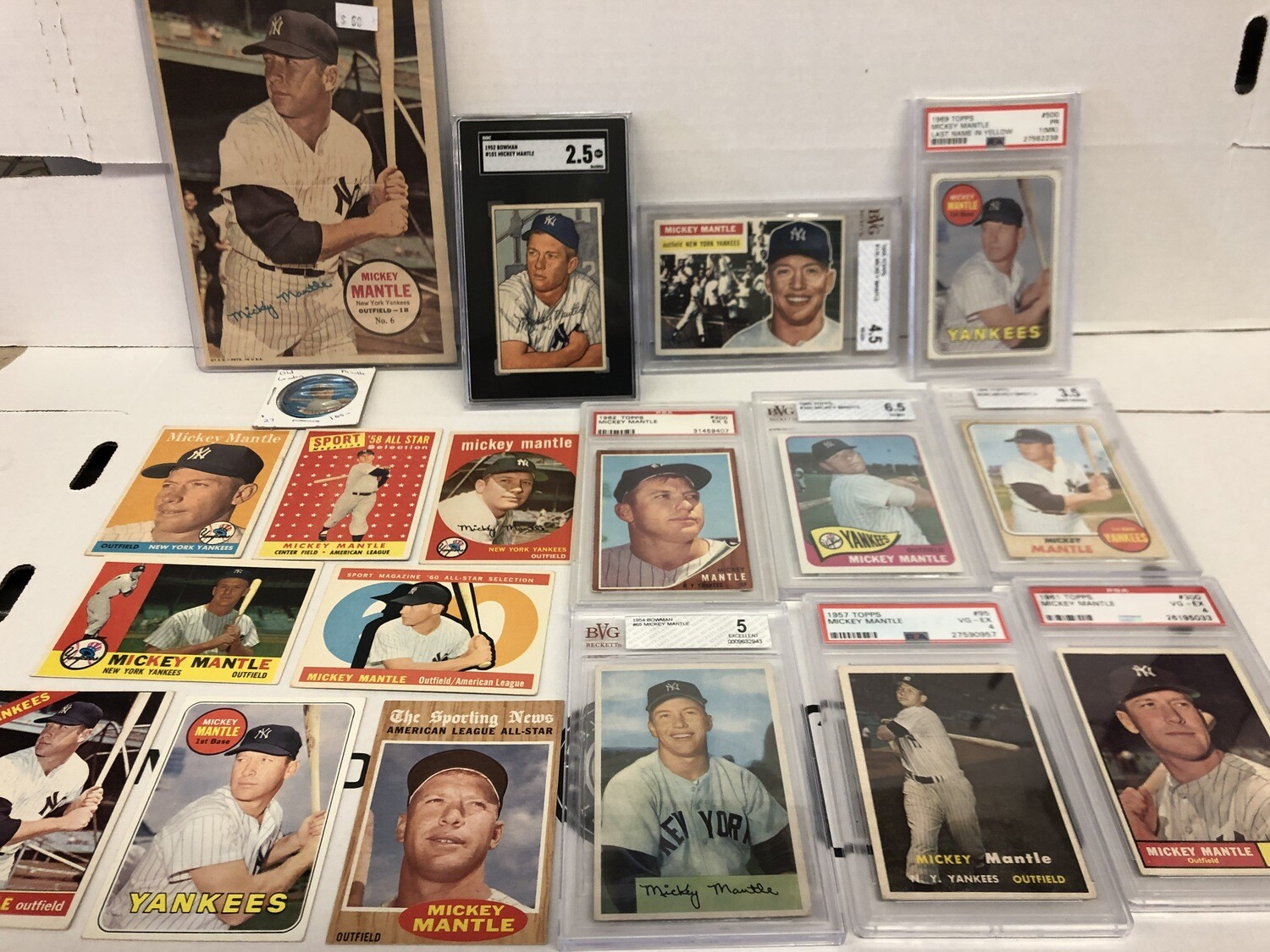 Assorted Mickey Mantle vintage cards in stock @ America's Pastime