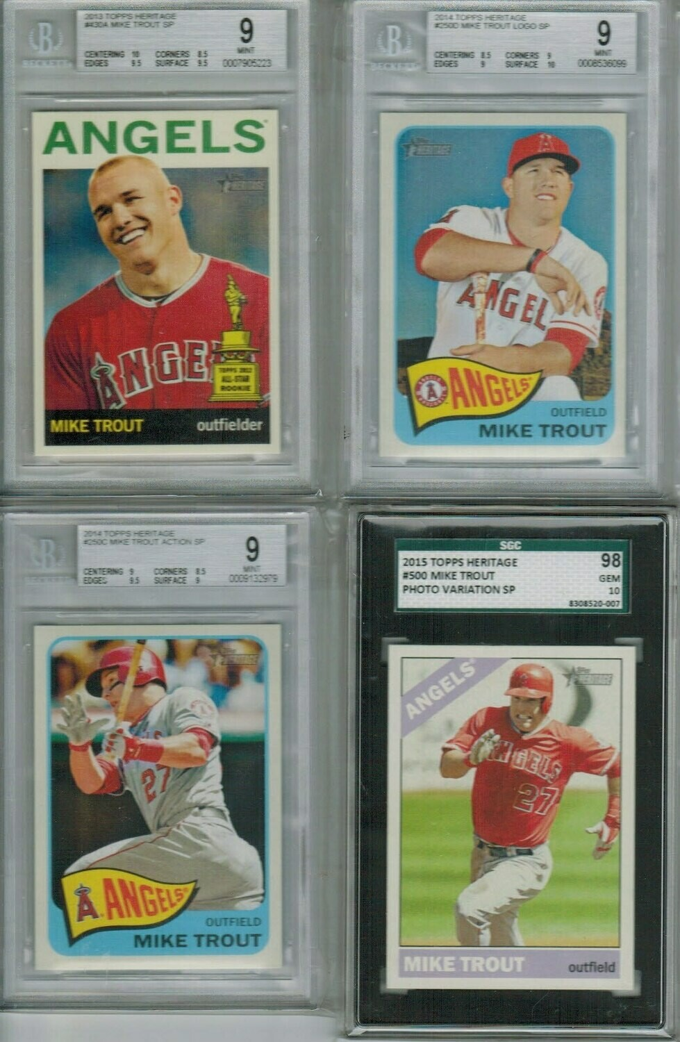 2014 Heritage #250C Mike Trout Action SP Beckett 9