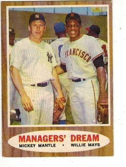 1962 Topps #18 Mickey Mantle/Willie Mays Manager's Dream list $200