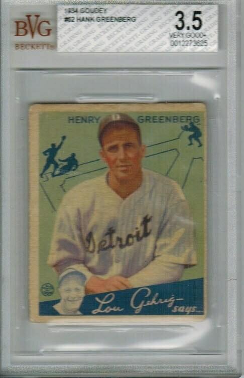 1934 Goudey #62 Hank Greenberg rookie, Beckett Graded 3.5