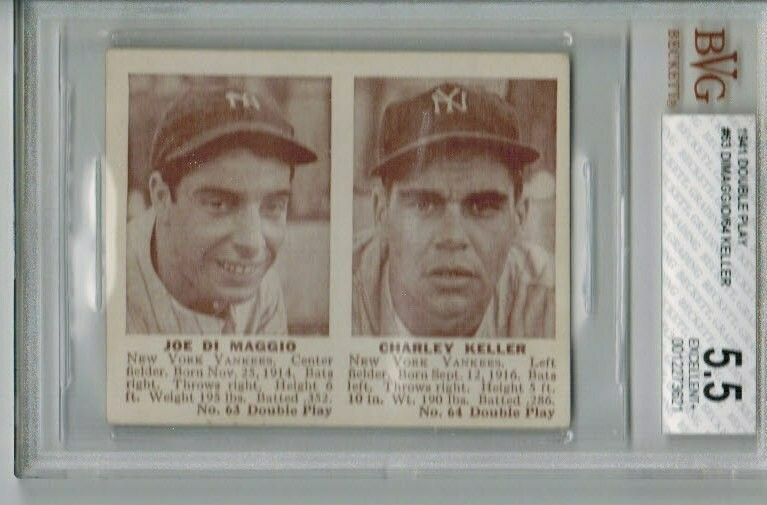 1941 Double Play #63/64 Joe Dimaggio/Charlie Keller Beckett Graded 5.5