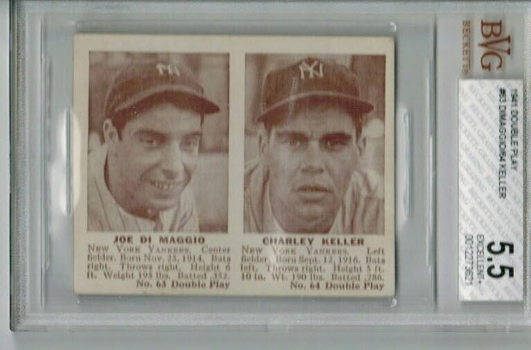 1941 Double Play #63/64 Joe Dimaggio/Charlie Keller Beckett Graded 5.5