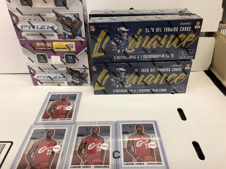 New Basketball, Football Boxes & Lebron James rookie card