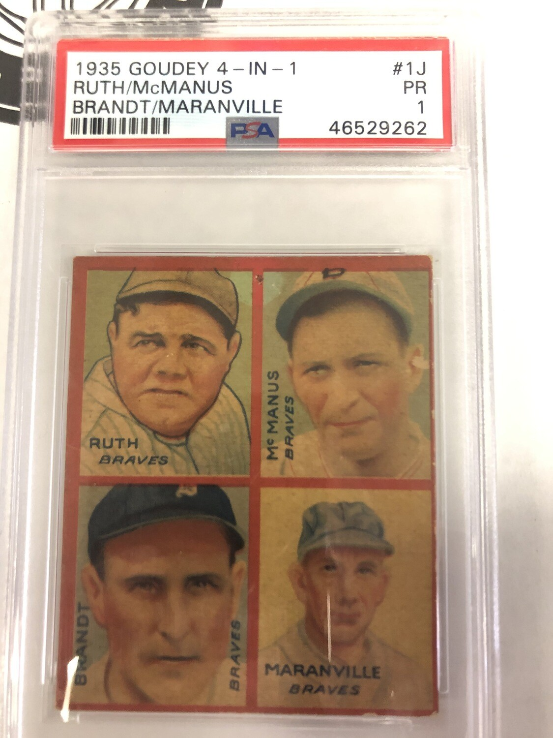 1935 Goudey Four in One Babe Ruth