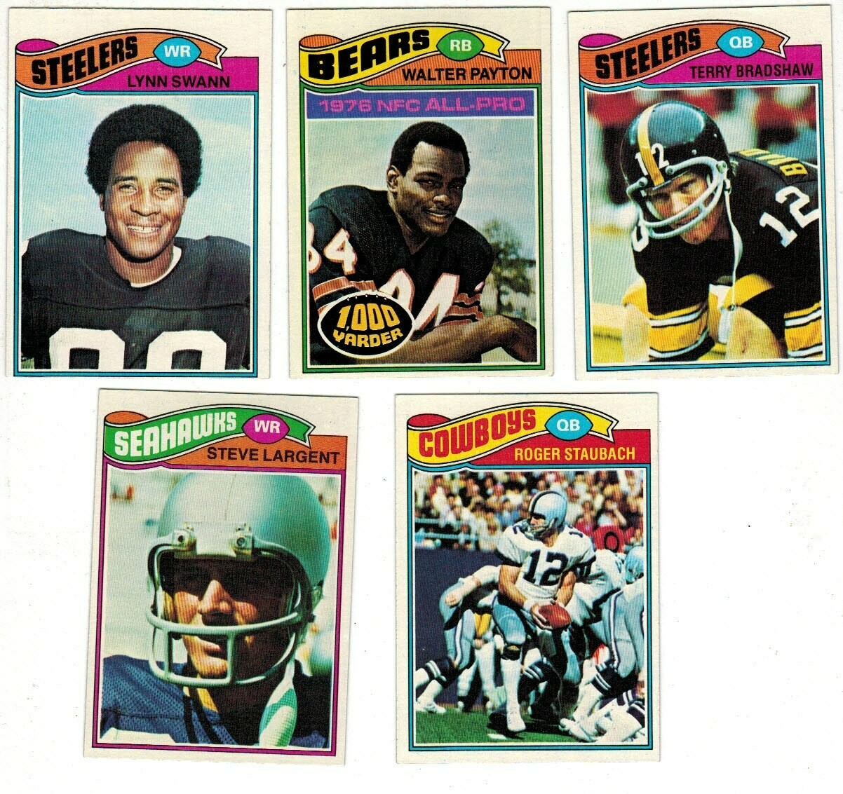 1977 Topps Football set- Largent rc,Payton 2nd year list $250 Ex+ to Ex/mint