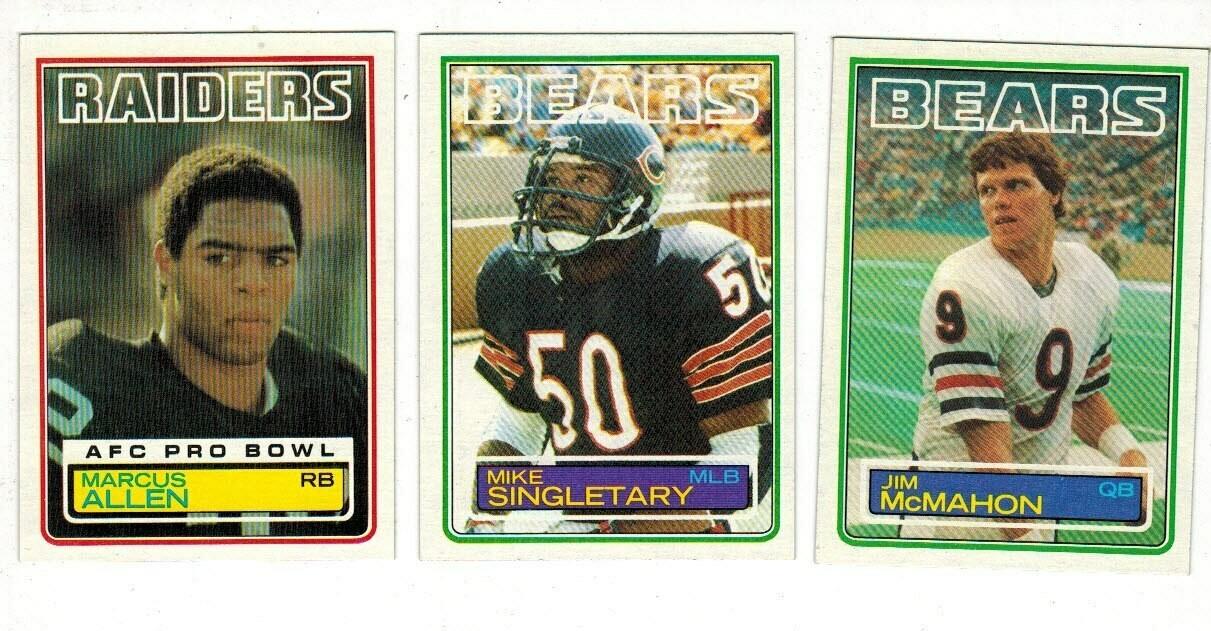 1983 Topps Football set-McMahon rc, Marcus Allen rc, Singletary rc Ex/Mint