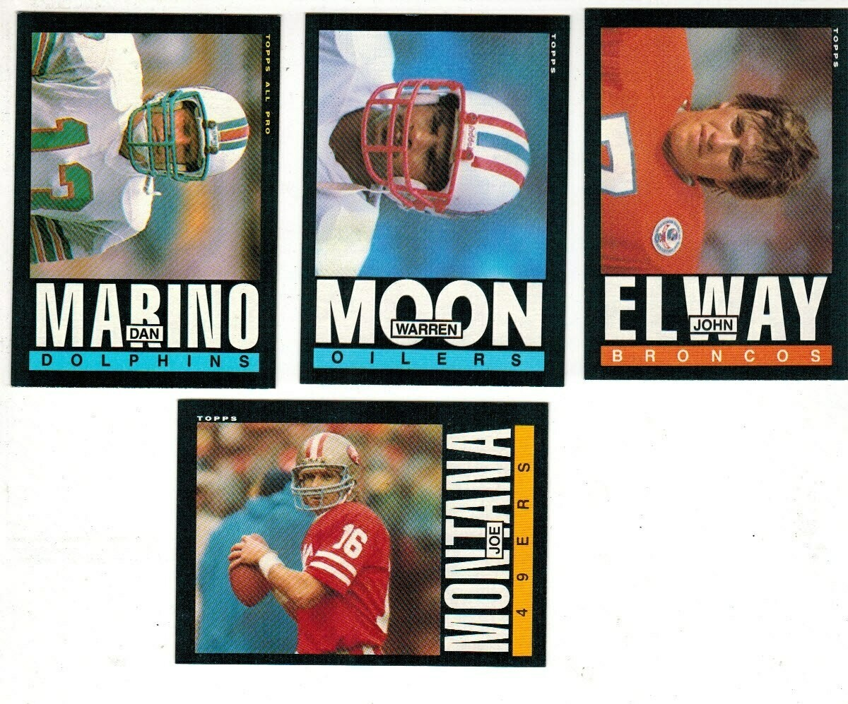 1985 Topps Football set-Moon rc, Montana, Marino, Elway Ex+ to Ex/Mint