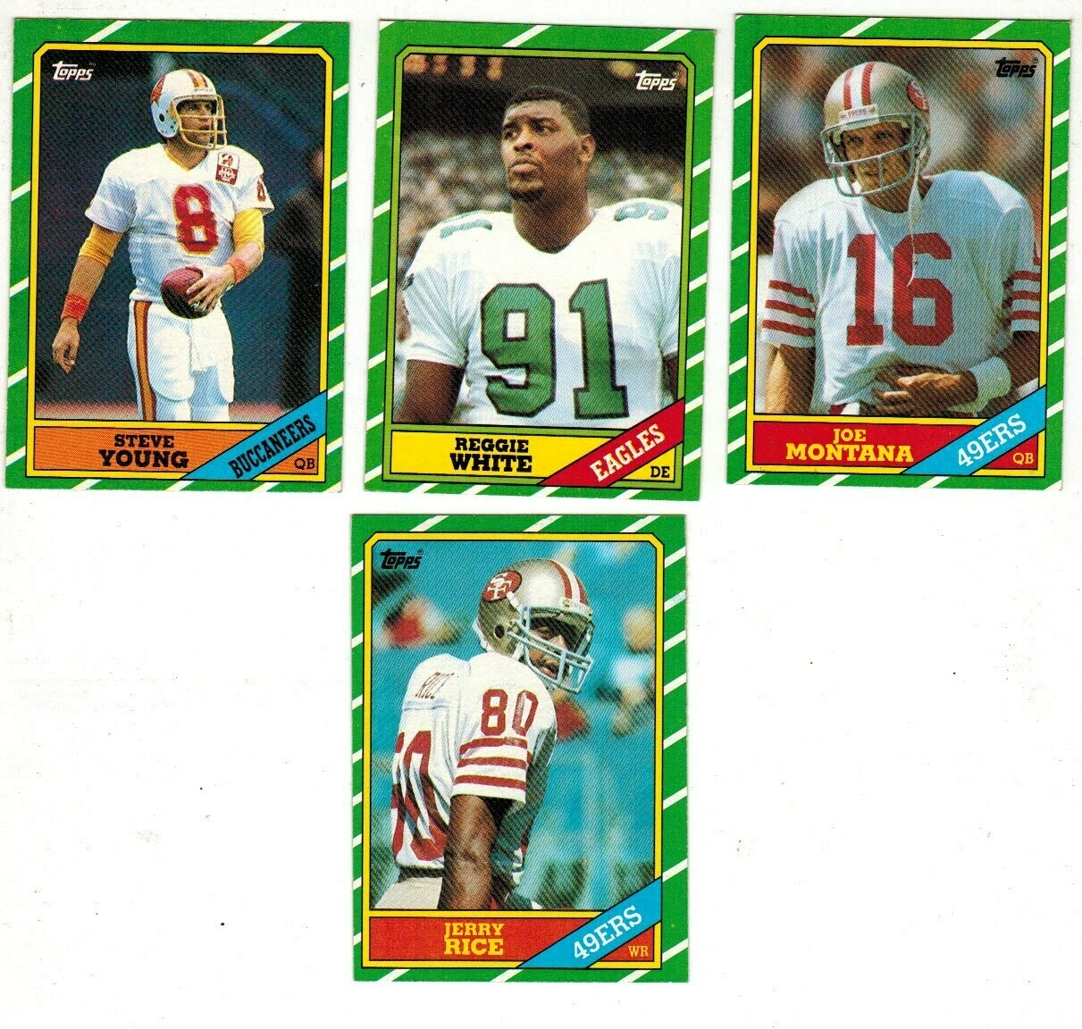 1986 Topps Football set-Rice rc, S.Young rc, Reg.White rc, Montana, Marino Ex+ List $100
