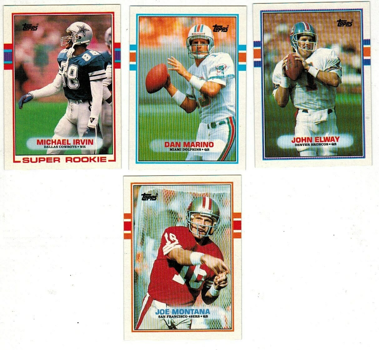 1989 Topps Football set-M.Irvin rc, Elway, Marino, Montana Nr Mint