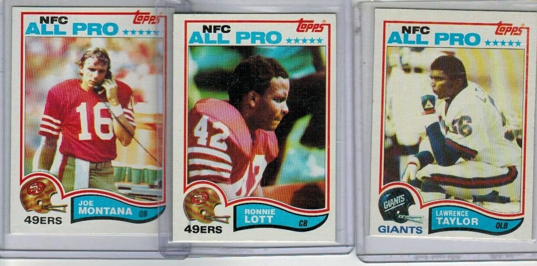 1982 Topps Football set-L.Taylor rc, Lott rc, Montana 2nd year Ex+ to Ex/Mint list $80