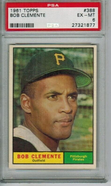 1961 Topps #388 Roberto Clemente, PSA graded 6
