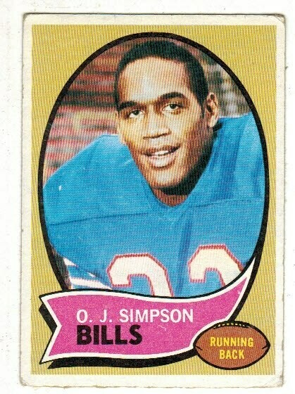 1970 Topps OJ Simpson rookie list $80 VG