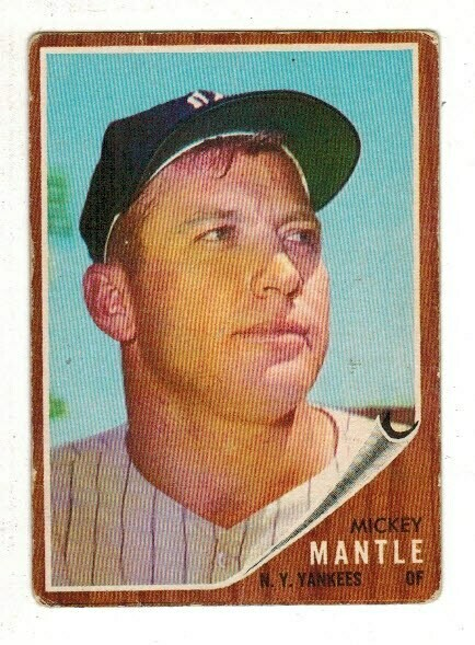 1962 Topps #200 Mickey Mantle list $800