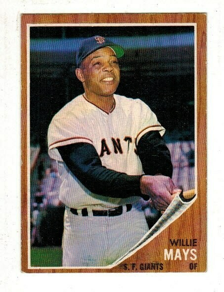 1962 Topps #300 Willie Mays list $250