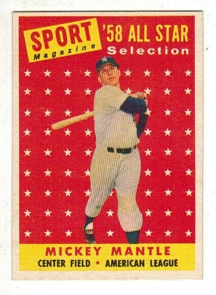 1958 Topps 487 Mickey Mantle All Star Nr Mint