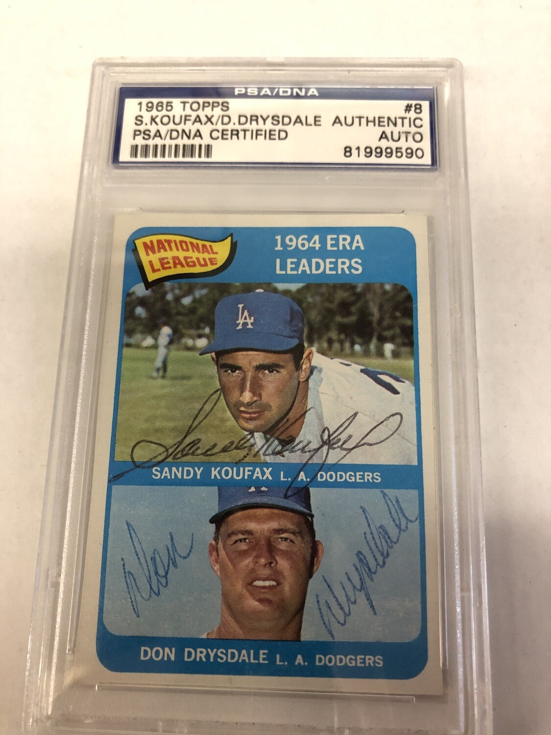 1965 Topps League Leader card signed by Koufax & Drysdale PSA/DNA