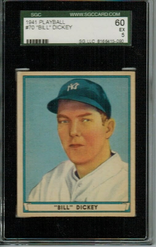 1941 Playball #70 Bill Dickey SGC graded 5