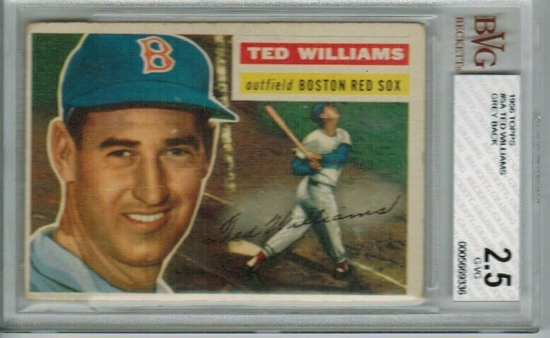1956 Topps #5 Ted Williams Grey Back Beckett graded 2.5