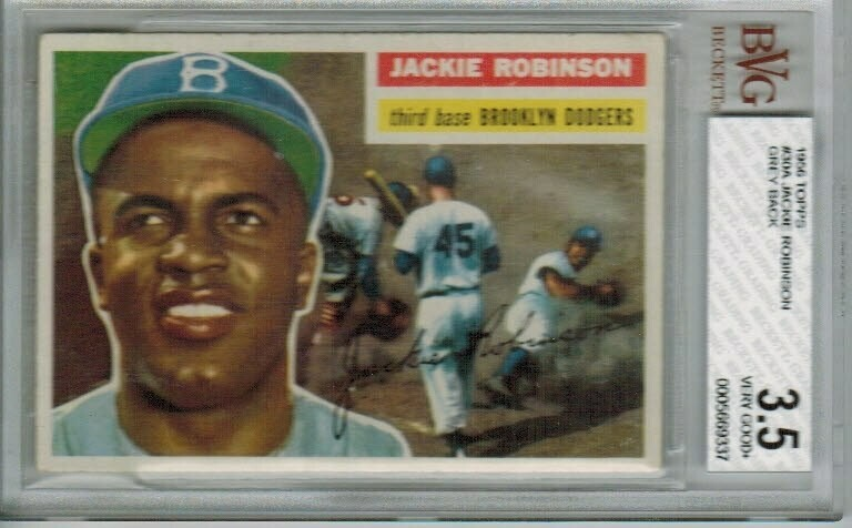1956 Topps #30 Jackie Robinson Grey Back Beckett graded 3.5