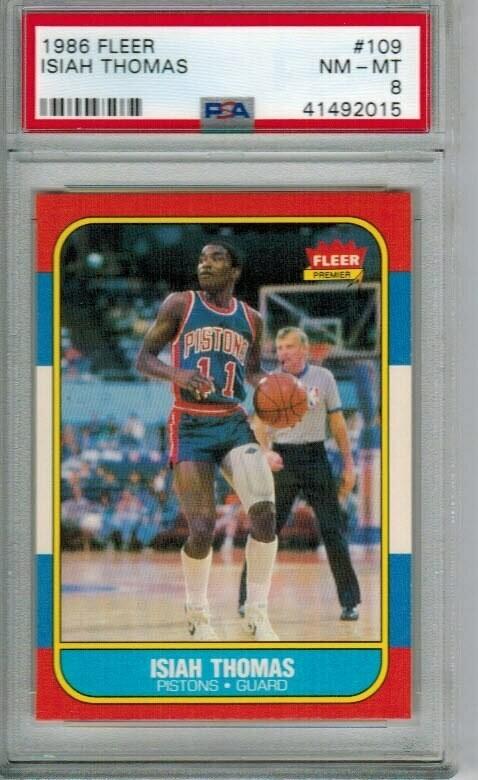 1986/87 Fleer #109 Isiah Thomas rookie PSA 8