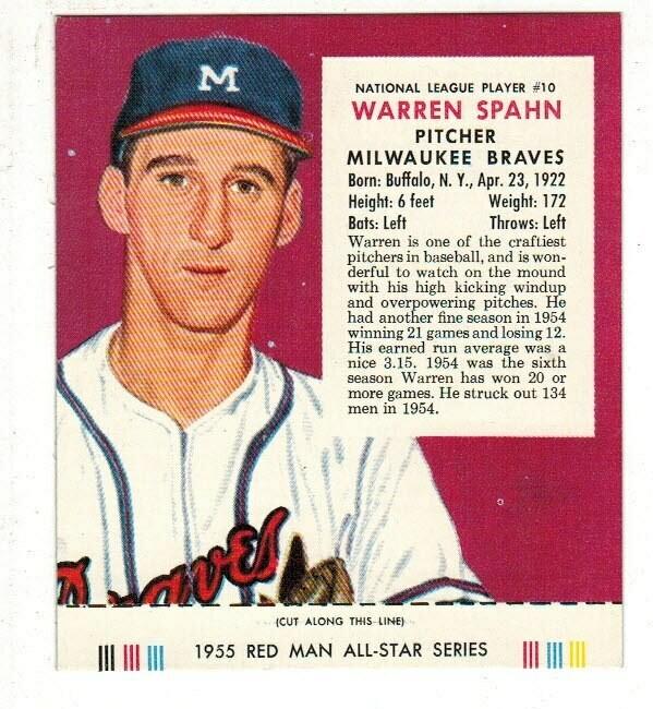 1955 Red Man Tobacco #10 NL Warren Spahn Nr Mint
