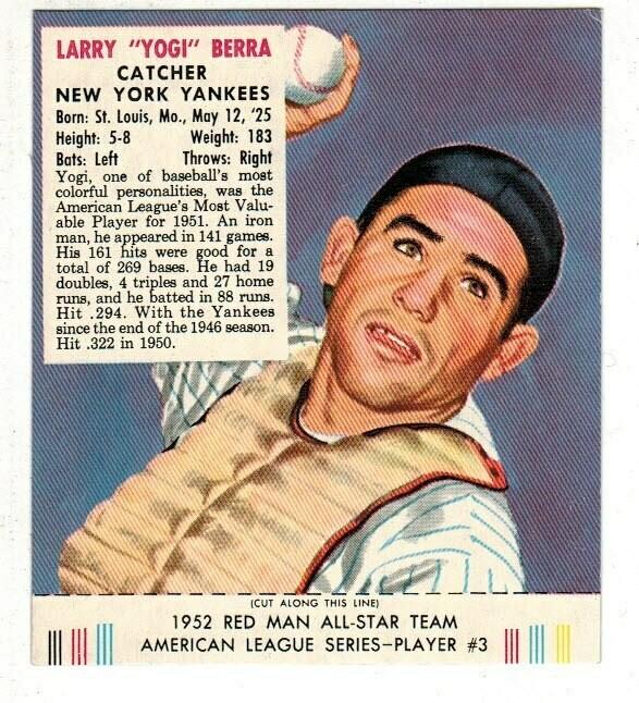 1952 Red Man Tobacco #3 AL Yogi Berra Ex/Mint
