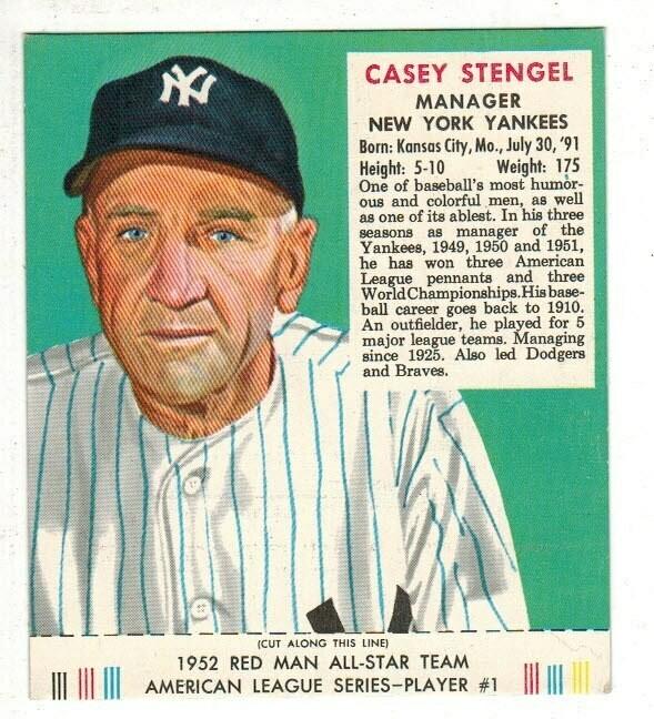 1952 Red Man Tobacco #1 AL Casey Stengel Ex+