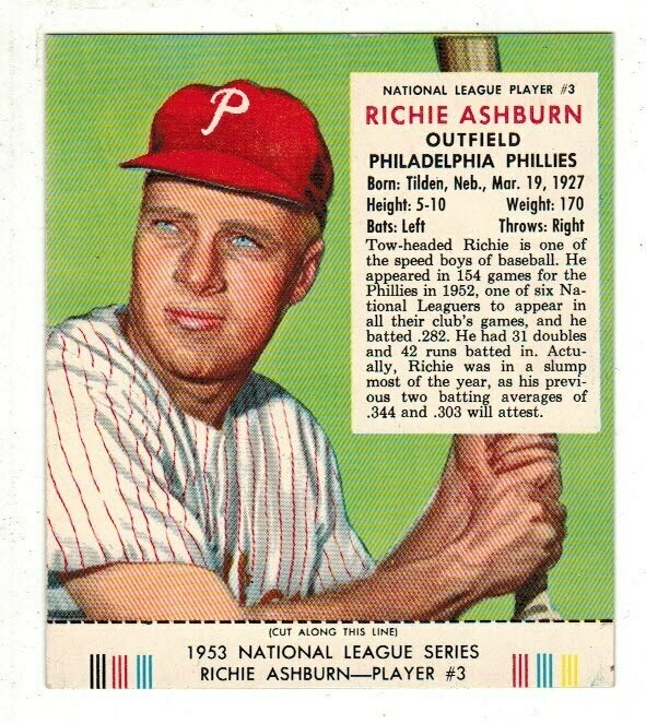 1953 Red Man Tobacco #3 NL Richie Ashburn Ex/Mint+
