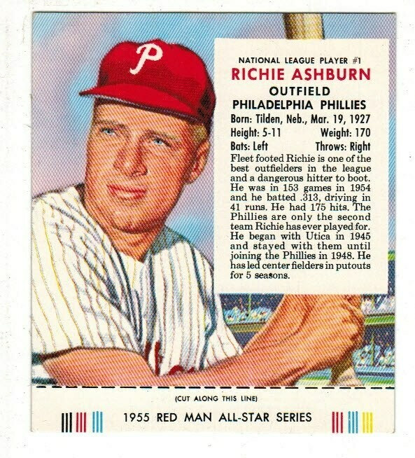 1955 Red Man Tobacco #1 NL Richie Ashburn Ex/Mint