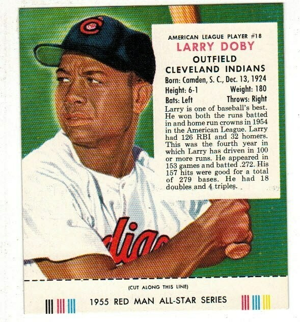 1955 Red Man Tobacco #18 NL Larry Doby Nr Mint
