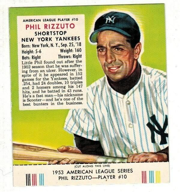 1953 Red Man Tobacco #10 AL Phil Rizzuto Ex/Mint+