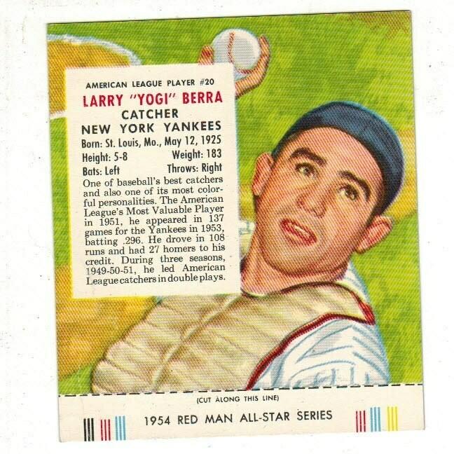 1954 Red Man Tobacco #20 AL Yogi Berra VG list $200