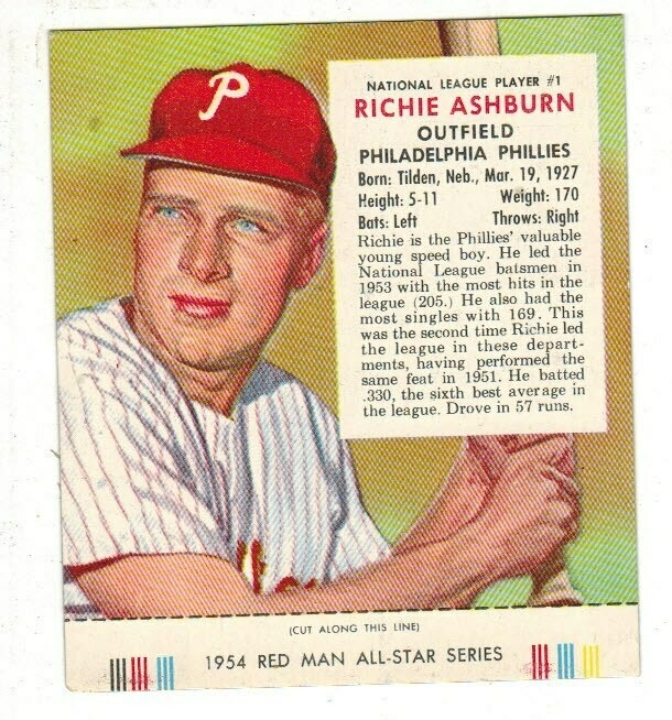 1954 Red Man Tobacco #1 NL Richie Ashburn Ex/Mint list $90