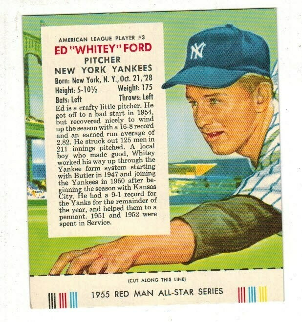 1955 Red Man Tobacco #3 AL Whitey Ford Ex/Mint +