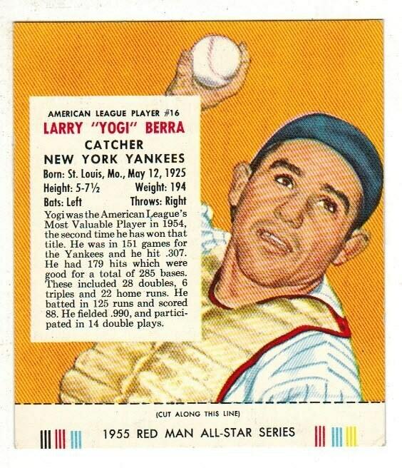 1955 Red Man Tobacco #16 AL Yogi Berra Ex+ list $160