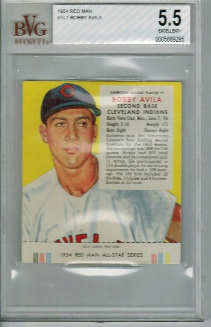 1954 Red Man Tobacco #AL1 Bobby Avila Beckett Graded 5.5