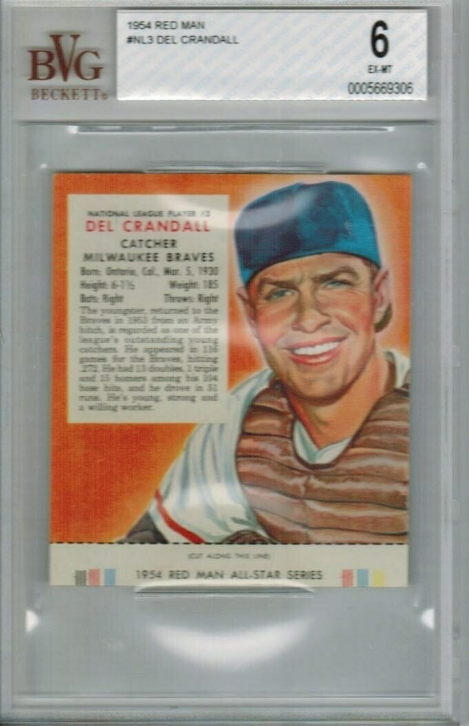 1954 Red Man Tobacco #NL3 Del Crandall Beckett graded 6
