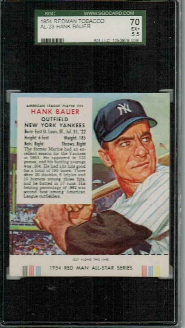 1954 Red Man Tobacco #AL23 Hank Bauer SGC 5.5