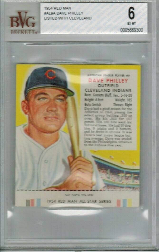 1954 Red Man Tobacco #AL9a Dave Philley Cleveland Beckett Graded 6