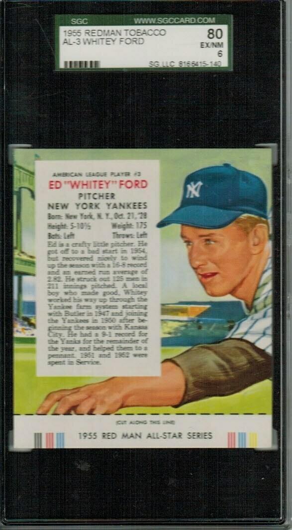1955 Red man Tobacco #AL3 Whitey Ford SGC 6