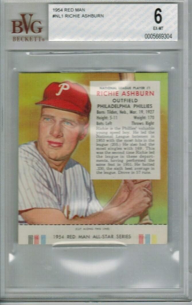 1954 Red Man Tobacco #NL1 Richie Ashburn Beckett 6