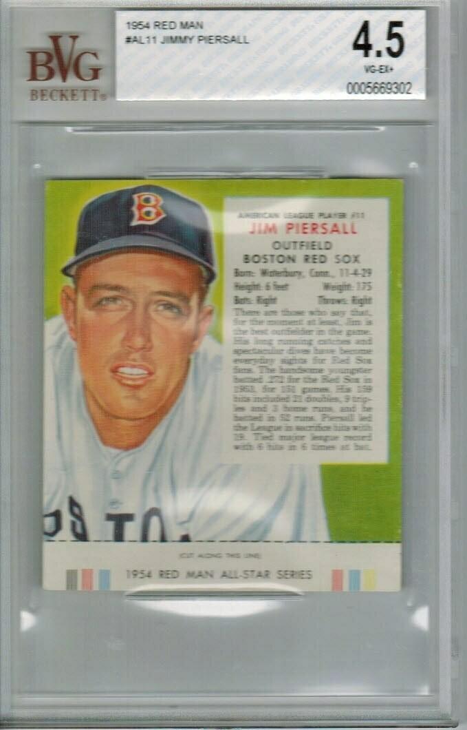 1954 Red man tobacco #AL11 Jimmy Piersall Beckett graded 4.5