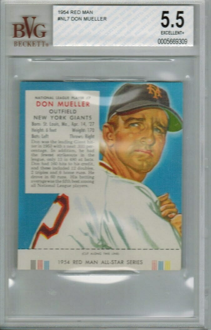 1954 Red Man Tobacco #NL7 Don Mueller Beckett graded 5.5