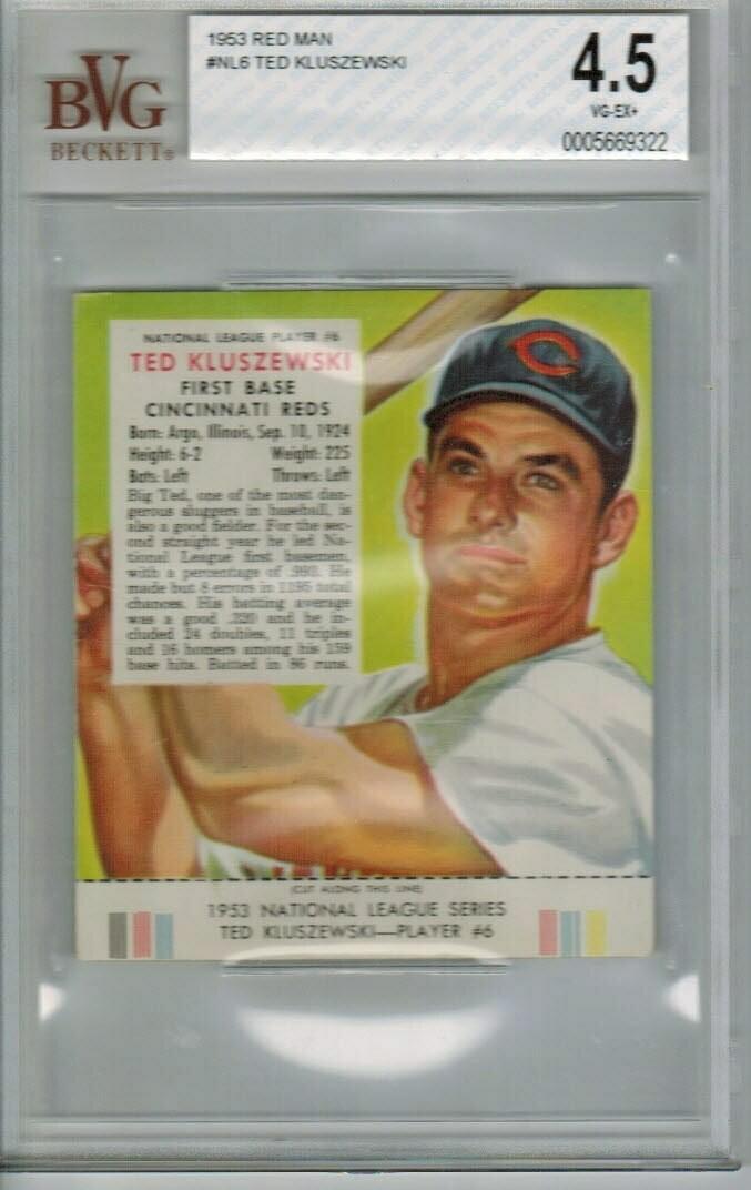 1953 Red Man #NL6 Ted Kluszewski Beckett Graded 4.5