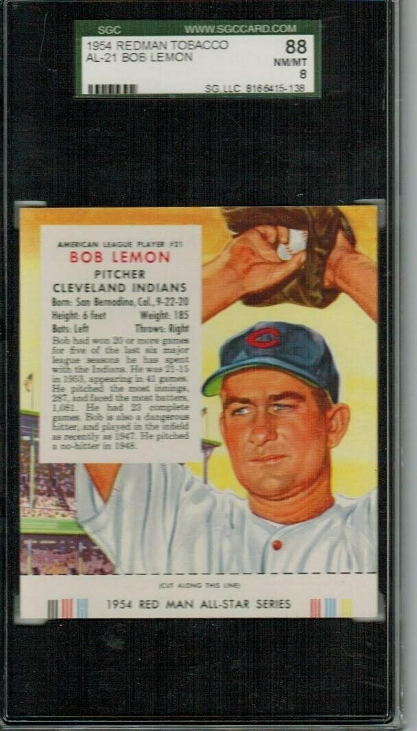 1954 Red Man Tobacco #AL21 Bob Lemon SGC 8