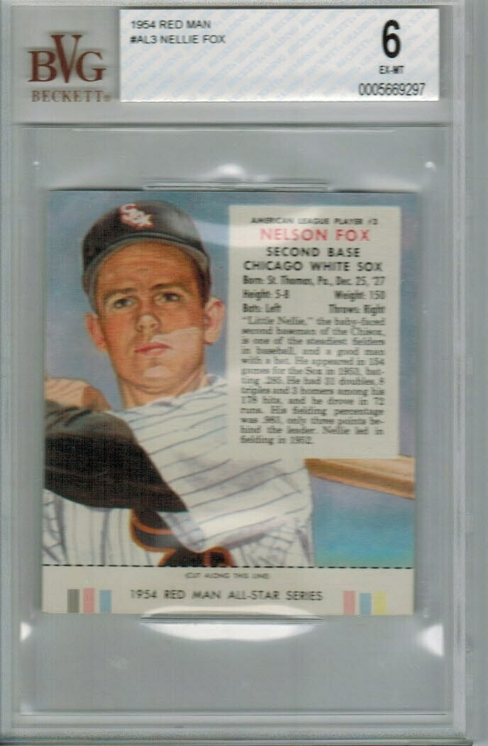 1954 Red Man Tobacco #AL3 Nellie Fox Beckett Graded 6