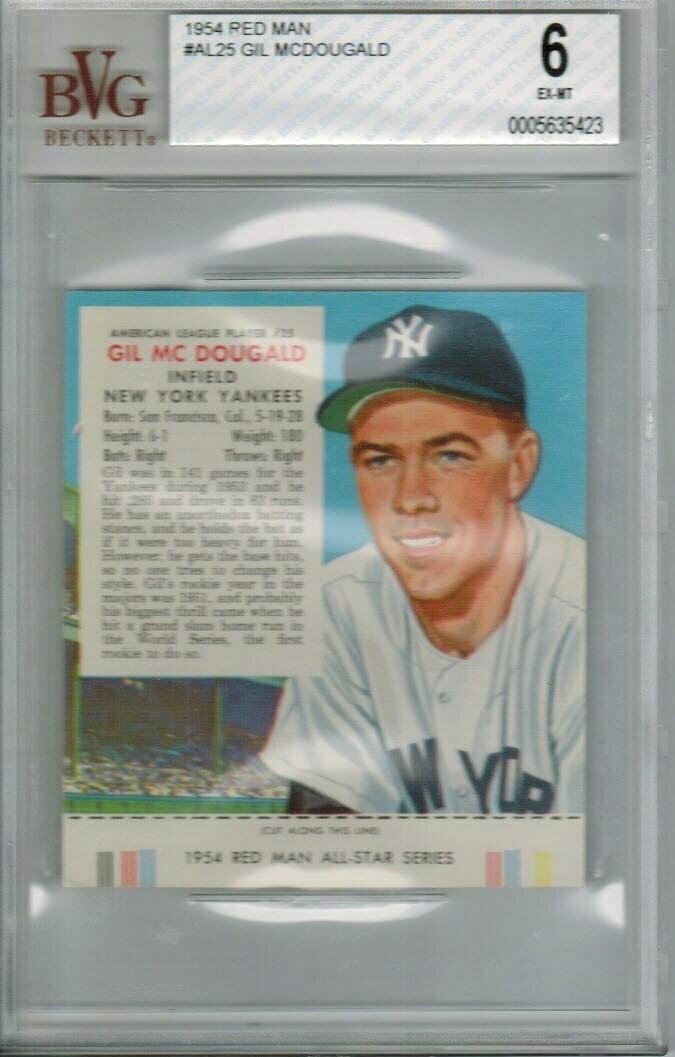 1954 Red Man Tobacco #AL25 Gil McDougald Beckett graded 6