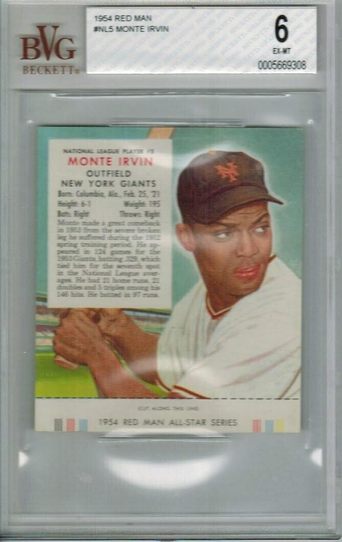1954 Red Man Tobacco #NL5 Monte Irvin Beckett graded 6