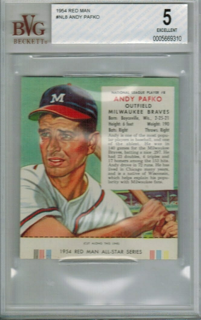 1954 Red Man Tobacco #NL8 Andy Pafko Beckett Graded 5
